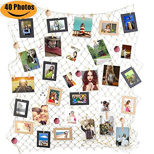 Buy Zuext Photo Hanging Display Frames W 40 Clips Sea Shells 79x40 Inch Nautical Themed Mediterranean Fishing Net Photo Wall Decor Picture Cards Artworks Organizer For Dorm Home Party Decorations Online