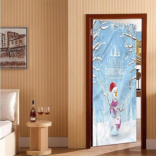 Buy Christmas Door Stickers For Home Snowy Winter Noel Easy To Clean Durable 32 X 80 Online In Mauritius B081c5z4tz