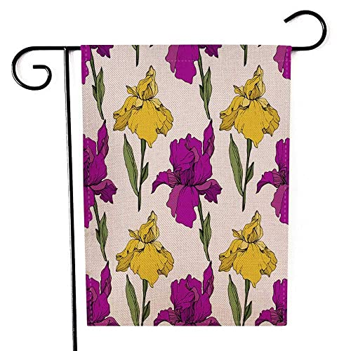 Capsceoll Garden Flag Outdoor 12 5x18 Inch Double Sided Purple Yellow Blue Iris Floral Botanical Flower Wild Spring Leaf Wildflower Isolated Engraved Ink Decorative Yard Flag For Outdoor Garden Yard Buy Products Online