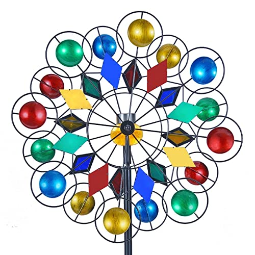 Buy Solar Wind Spinner 3d Kinetic Wind Spinners Outdoor Metal Gardening Decorations With Multi Color Led Lighting By Solar Powered Glass Ball With Lawn Ornament Wind Mills Online In Mauritius B07mrd38d7