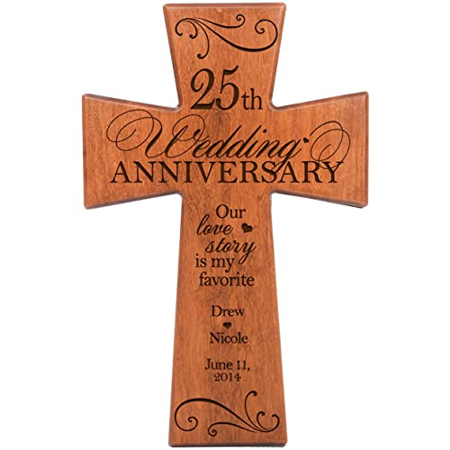 Buy Lifesong Milestones Personalized 25th Wedding Anniversary Cherry Wood Wall Cross Gift For Couple 25 Year For Her Silver For Him Our Love Story Is My Favorite 12x17 Online In Mauritius B079tf6vrg