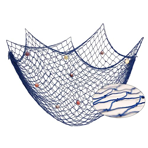 Buy Decorative Blue Nautical Fish Net With Shells Seaside Wall Beach Party Sea Shell Décor Authentic Hangings Decor Perfect Decoration For Your Home Restaurant Or Boat 78 5 X59 Online In