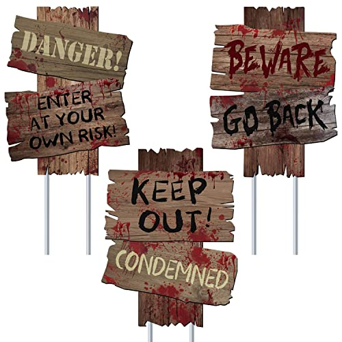 Buy Ufunga Beware Signs Yard Stakes Halloween Decorations Outdoor Creepy Assorted Warning Sign Scary Zombie Party Decor Supplies 3 Pieces 12 X 9 Online In Mauritius B07xwycl7c