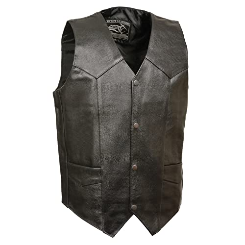 M Patches Real Leather Vest Side Laces Black New Mens Motorcycle Classic PRE