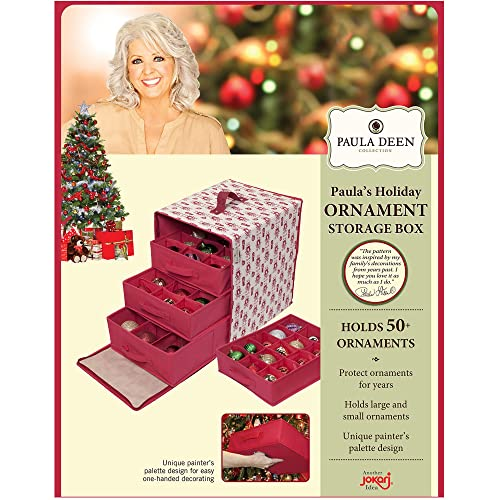 Buy Paula Deen Ornament Storage Container Closet Organizer Perfect Holder For Christmas Tree Or Holiday Decorations Hard Cube Chest Box Design Is Hard To Keep Safe Small Big Glass Or