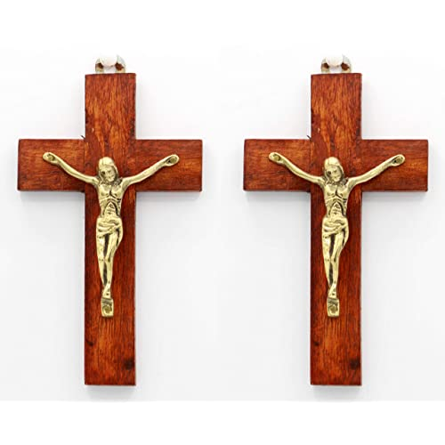Buy Pair Of 6 Inch Handmade Wood And Brass Jesus Christ Crucifix Cross By Crystal Collection Online In Mauritius B07gr7vh82