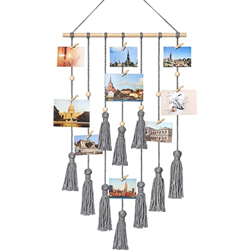 Buy Mkono Hanging Photo Display Macrame Wall Hanging Pictures Organizer Boho Home Decor With 30 Wood Clips Gray Online In Mauritius B082pjm6md
