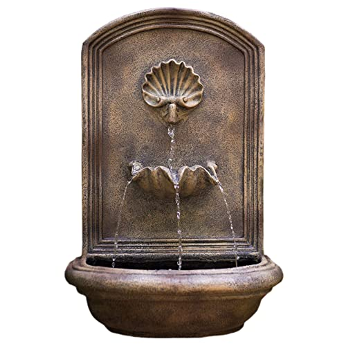 Water Feature for Garden The Byzantine Outdoor Wall Fountain Patio and Landscape Enhancement Bronze Travertine