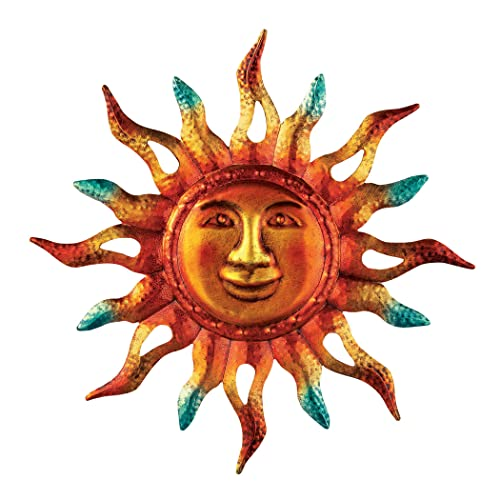 Buy Collections Etc Metallic Iron Sun Wall Art Hand Painted In Orange Yellow And Green Colors For Indooroutdoor Decor Online In Mauritius B01cwo21hg