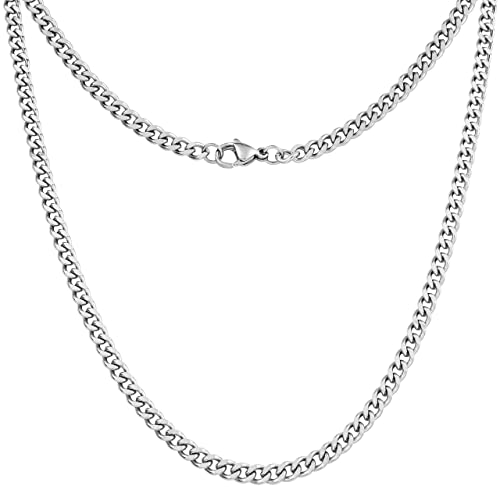 Buy Silvadore 4mm Curb Mens Necklace Silver Chain Cuban Stainless Steel Jewelry Neck Link Chains For Men Man Women Boys Male Military 14 16 18 20 22 24 26