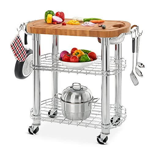 Seville Classics Rolling Oval Solid Bamboo Butcher Block Top Kitchen Island Cart With Storage 30 W X 20 D X 36 H Buy Products Online With Ubuy Mauritius In Affordable Prices B086p8m2m7