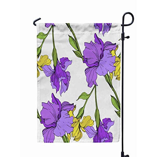 Buy Shorping Welcome Garden Flag 12x18inch Purple Yellow Iris Floral Botanical Flower Wild Spring Leaf Wildflower Isolated Engraved Ink Art For Holiday And Seasonal Double Sided Printing Yards Flags Online In Mauritius B07tgsn2q8