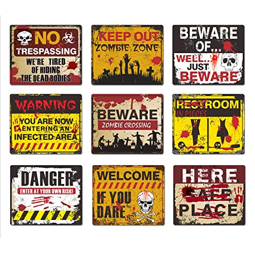 Buy Halloween Decorations 9 Pack Beware Signs Halloween Signs Haunted House And Horror Themed Parties For Home Decor Beware Door Signs Indoor And Outdoor Online In Mauritius B07wdzhktw
