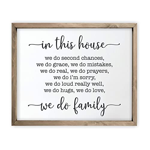 Buy In This House We Do Family Framed Rustic Wood Farmhouse Wall Sign 12x15 Online In Mauritius B07s4ngjfk