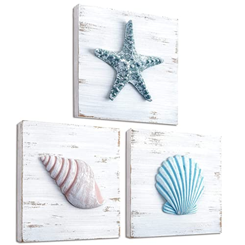 Buy Tideandtales Beach Theme Seashell Wall Decor Set Of 3 Shells And Starfish Beach Decor For Bathroom Bedroom Or Living Room Rustic Coastal Decor Beach Decorations For Home