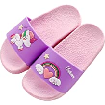 Kids Summer Slipper Unicorn and Narwhal House Slippers Shower Slide Anti-Slip Beach Pool Bath Sandals for Boys Girls