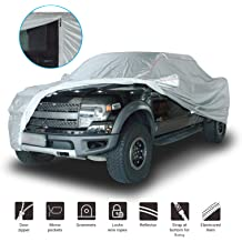 Konnfeir Half Car Cover All Weather Car Body Covers Outdoor Indoor for All Season Waterproof Windproof Dustproof UV Resistant Snowproof Universal Car Half Cover Fit Sedan Length 176 to 193