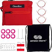 ChiaoGoo Knitting Needles Cable 8 inch Bundle with Key for Twist Red Lace Interchangeable Large Set and 1 Artsiga Crafts Stitch Holder 7508-L 20cm